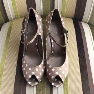 Nine West Polka Dot Bronze Heels